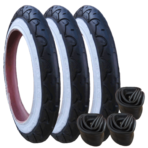 "Genuine Phil & Teds Sport Tyres with Inner Tubes Set of 3 (12"") Kenda"