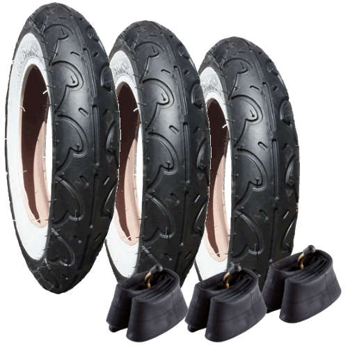 "10142 - Genuine Phil and Teds Dot Tyres plus Inner Tubes - Set of 3 (10"") Kenda"